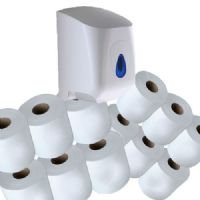 12 White Centrefeed Rolls Paper Towels & Dispenser